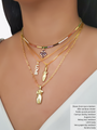 Layered Sparkling Rainbow Choker with Gold Pendants in Women's Body Figure and Love Charm