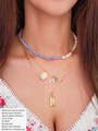 Mandy Adjustable Blue And White Beaded Pearl Choker Necklace