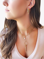 Classic Hoop Earrings With Dainty Choker Layered With Gold Filled Paperclip Necklace And Clip-Charm Holder Necklace With Dainty Clip Charms