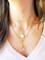 CZ Choker Layered With Paperclip Necklace Lariat Necklace And Crystal Charm With Pearly White Clip On Charm