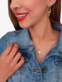 Gold Necklace With Colorful Initial Pendant, 4 Colors