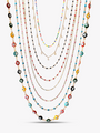 Colorful Gold Beaded and Pearl Necklaces, 4 Styles