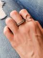 Women Wearing Iliana Adjustable Sterling Silver Moon Star Ring