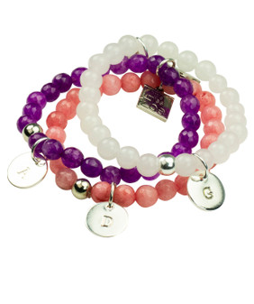 Stretch Beaded Bracelet with Initial Charm