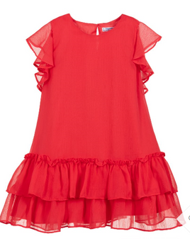 Watermelon Chiffon Tween Dress