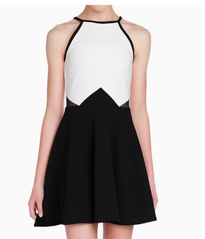 White & Black Colorblock Tween