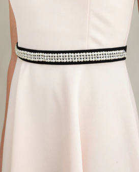 Black and Crystal Dress Belt
