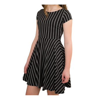 Tween Skater Dress Black/Ivory