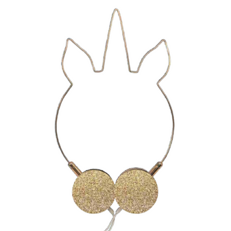 Unicorn-shaped gold glitter headphones