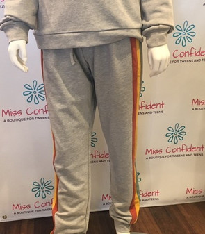 Striped Grey Terry Joggers - Teen