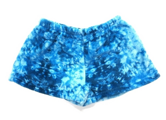 Plush Shorts - Blue Tie Dye