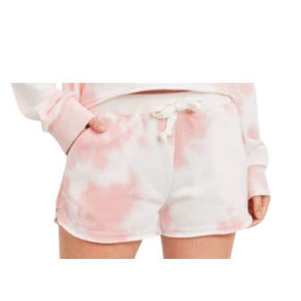 Tie Dye Fray Shorts Coral - Teen