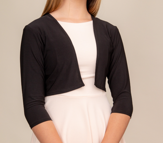 This is a great piece to layer over dresses. This copped bolero has an open front.