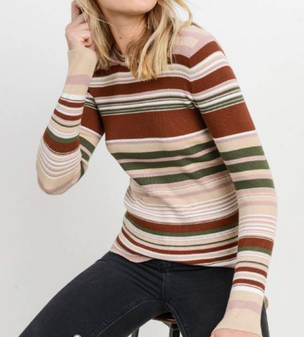 Striped Ribbed L/S Top - Teen