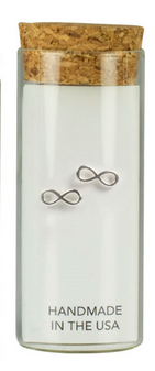 Infinity symbol earrings to add to any outfit. These sterling silver stud earrings are handmade in the USA.