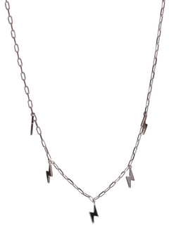 This silver tone lightning bolt choker can be adjusted between 14 and 17 inches. You can also search for the lightning bolt earrings, too!