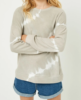 Off center tie dyed lines make for a unique look. Long sleeve and perfect for the season.