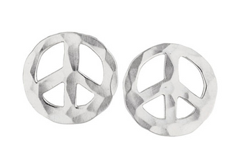 Hammered Sterling Silver Peace Sign studs