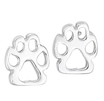 Cut-out paw print sterling silver stud earrings