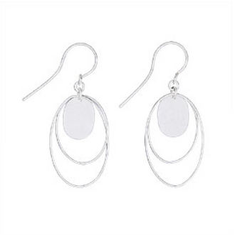 Sterling Silver hanging earrings with 2 floating rings