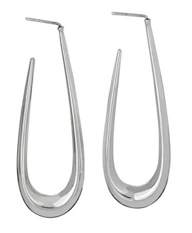 Sterling Silver Oblong Stud Hoops