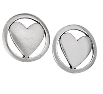 Sterling silver circle heart stud earrings