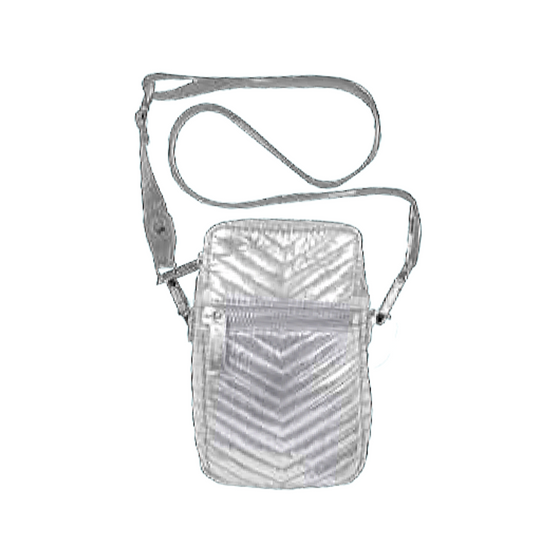 Silver Chevron Crossbody Bag