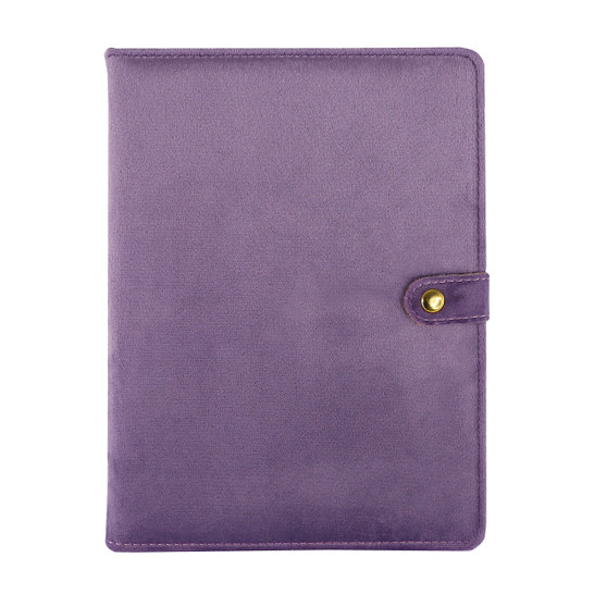 Perfect-sized purple velvet journal with snap closure.