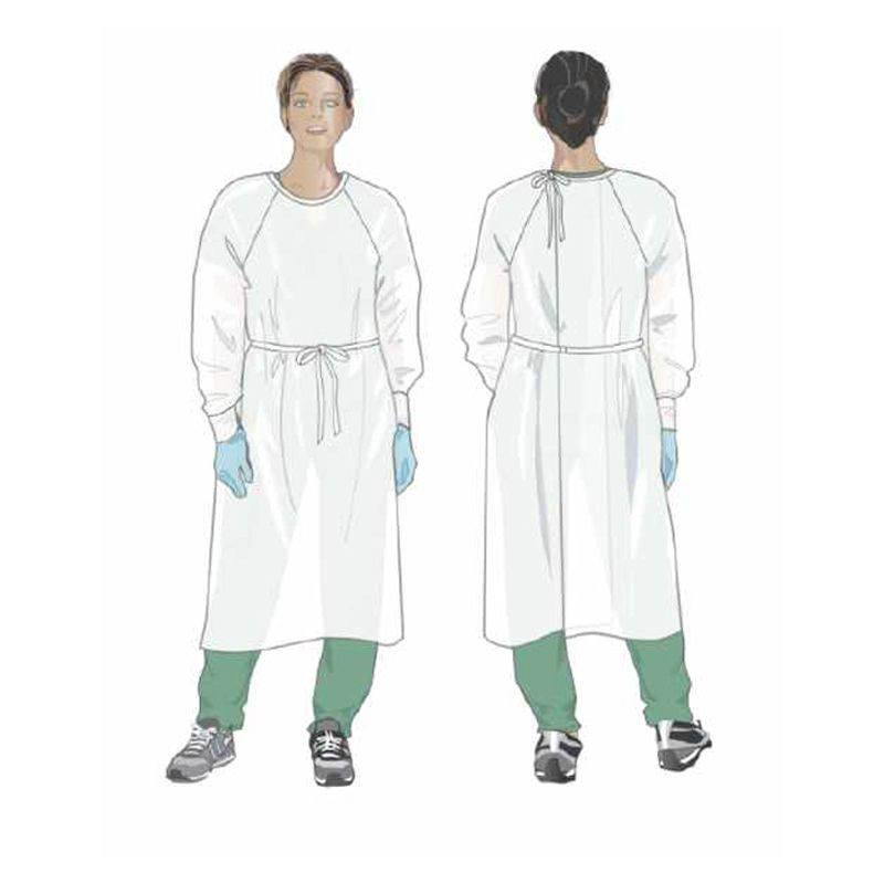 Reusable Isolation Gown, White, Washable Up to 75 Times, MADE IN USA