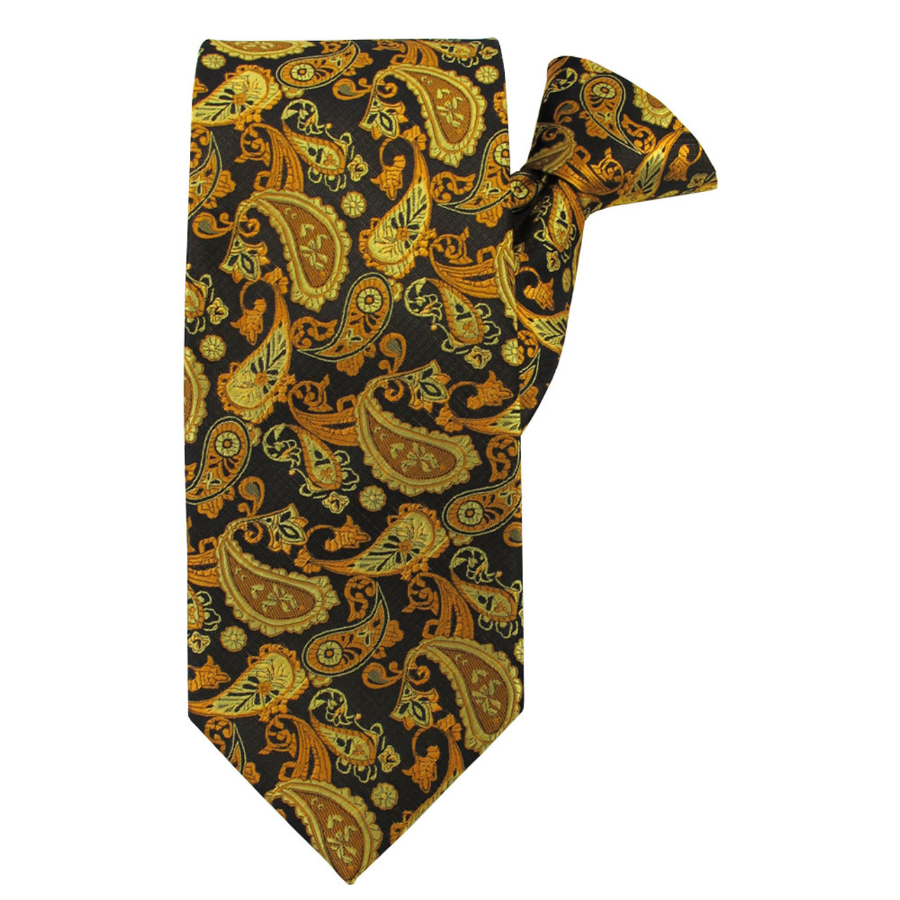 7aa80fdd0d86 Gold Paisley Beauty X-Long Clip on Tie - Absolute Ties