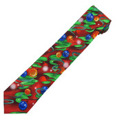 Jerry Garcia Men's Creme de Menthe Hangover Merry Christmas Tree Neck Tie - Red Green with Orange Blue