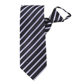 Men's Pre-Tied Dotted Stripe Pattern Zipper Neck Tie - Silver Black