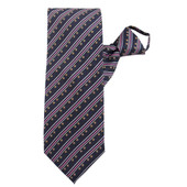 Gray Stripe Pattern Zipper Tie #319