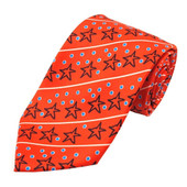 Men's Christmas Star Diagonal Stripe with Dots Extra Long Neck Tie