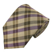 Men's Checkered Extra-Long Neck Tie - Purple Saddle Brown