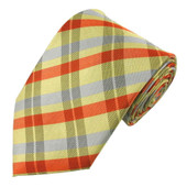 Men's Checkered Extra-Long Neck Tie - Yellow Gray