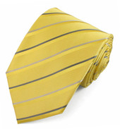 Men's Diagonal Stripes and Dots Extra-Long Neck Tie - Yellow