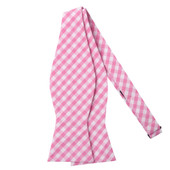 Men's Gingham Checkered Pattern Self-Tie Bow Tie - Pink