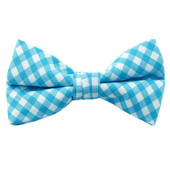 Men's Gingham Checkered Pattern Pre-Tied Clip-On Bow Tie - Turquoise
