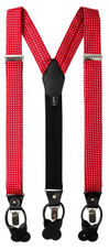 Men's Polka Dot Y-Back Suspenders Braces Convertible Leather Ends and Clips - Red