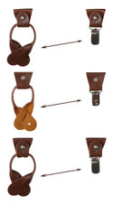 Men's Polka Dot Y-Back Suspenders Braces Convertible Leather Ends and Clips - Peach