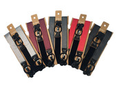 Men's Polka Dot Y-Back Suspenders Braces Convertible Leather Ends and Clips - Black