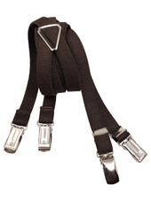 Solid Suspenders - X-Back - 42 inches Long - 0.5 inch Straps - Clip-On - Dark Brown