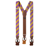 Men's College Stripe Y-Back Suspenders Braces Convertible Leather Ends and Clips - Purple Gold