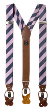 Men's College Stripe Y-Back Suspenders Braces Convertible Leather Ends and Clips - Purple-Pink Navy