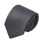 Polka Dot Print Men's Polka Dotted Extra Long Tie - Charcoal