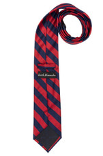 Stripe Woven Men's College Striped Extra Long Tie - Red Navy