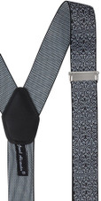 Men's Floral Y-Back Suspenders Braces Convertible Leather Ends Clips - Black White