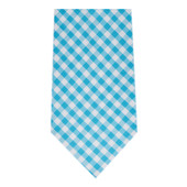 Men's Gingham Checkered Pattern Neck Tie - Regular - Turquoise