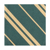 Woven Double Stripe Men's Zipper Neck Tie - Hunter Green Gold